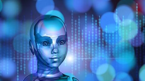 foto com fundo azul do rosto de uma menina com formas de robô