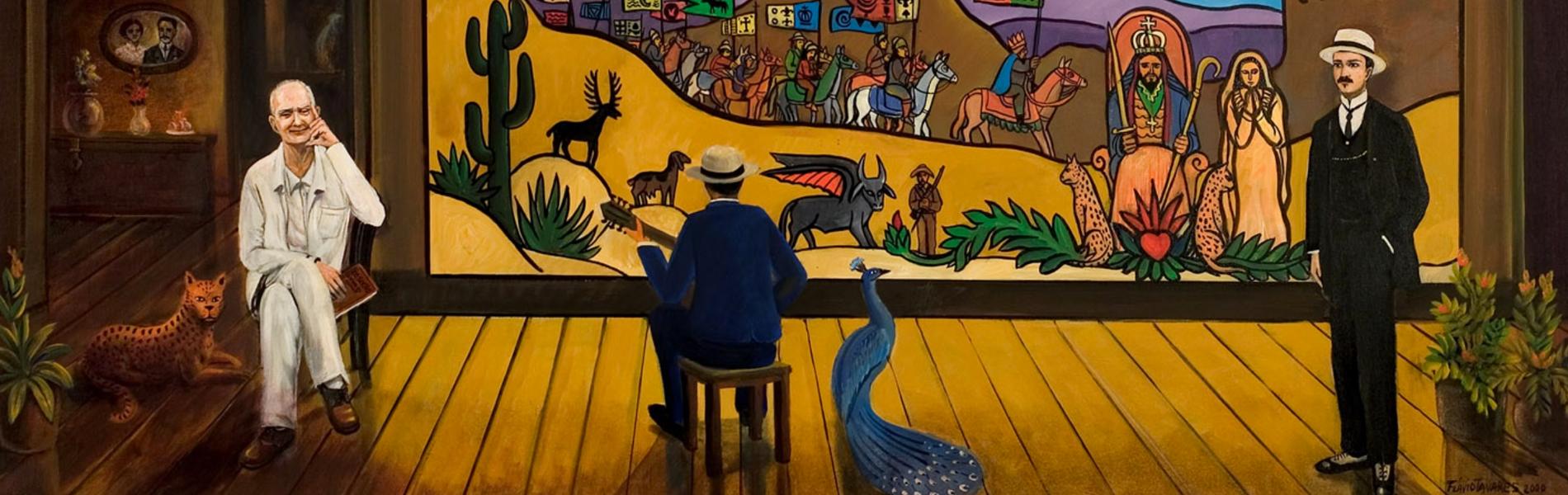 ilustração de um palco onde podemos ver Ariano Suassuna sentado e mais duas pessoas de terno