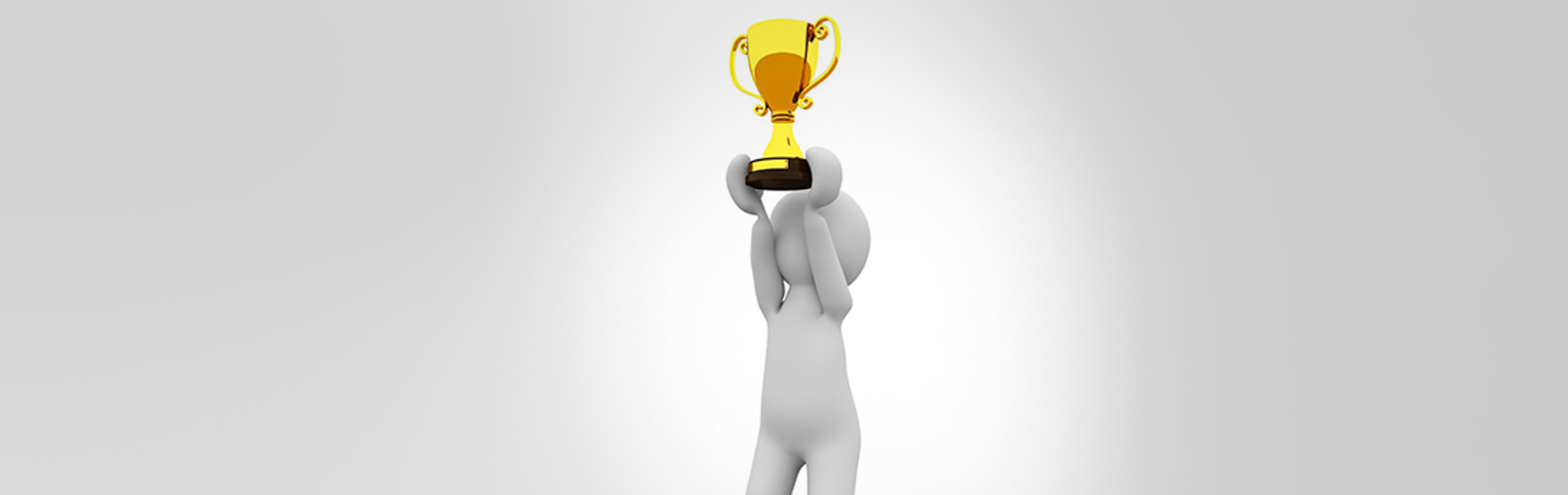 imagem de um boneco em 3D levantando um troféu
