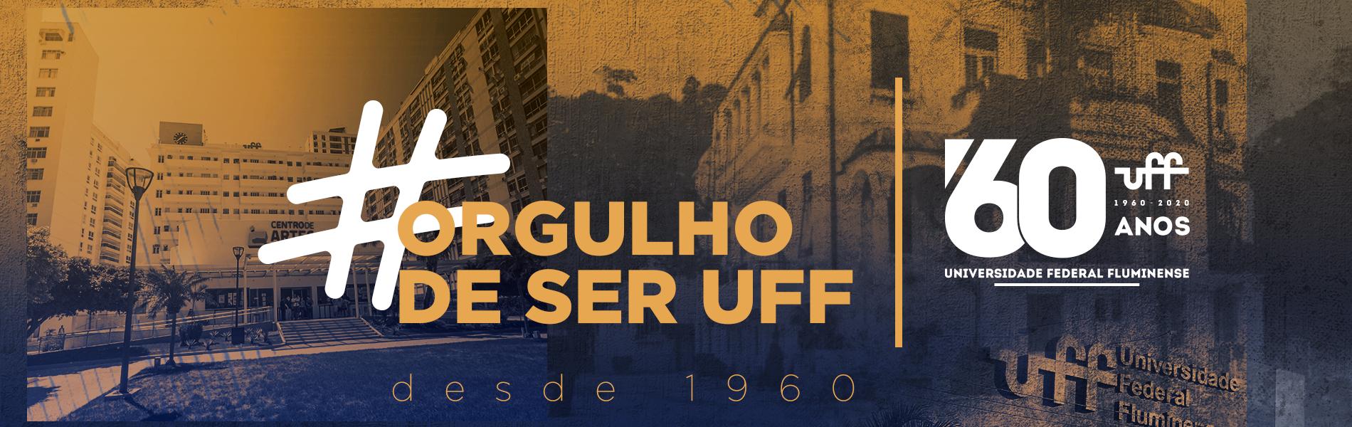 imagem da fachada atual da reitoria da UFF ao lado de uma imagem do antigo cassino, sob o logo dos 60 anos da UFF