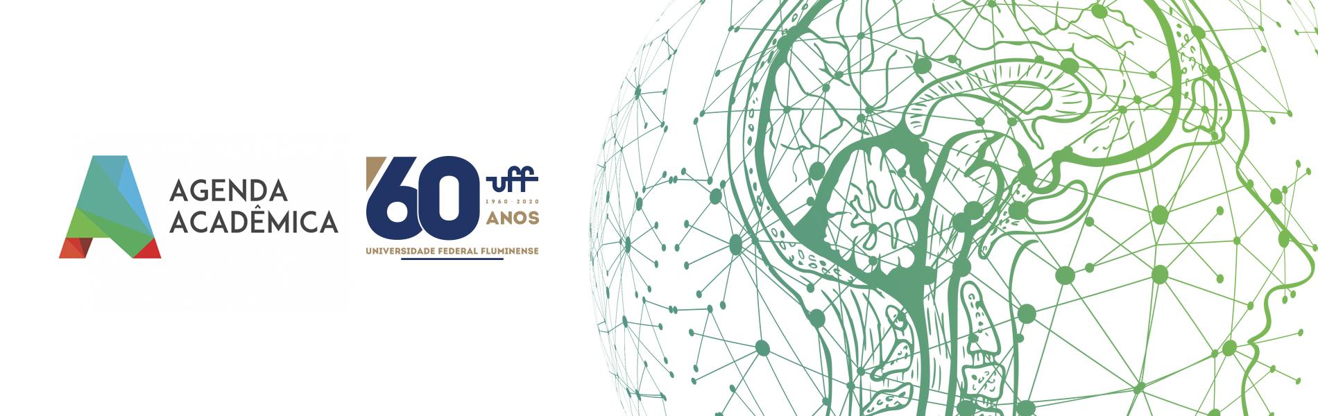 desenho de uma cabeça de perfil cheia de conexões e dos logos da agenda acadêmica e dos 60 anos da UFF
