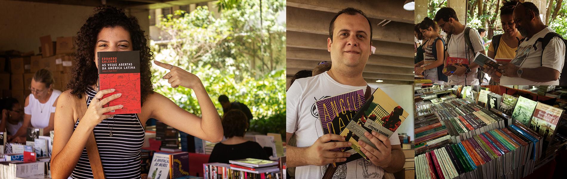 Imagem: mosaico de fotos com pessoas segurando e olhando para os livros da feira