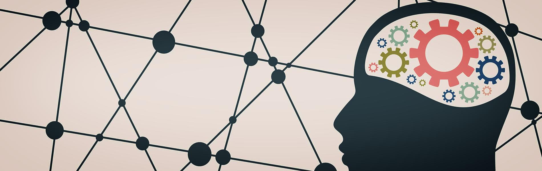 ilustração de uma silhueta de homem mostrando engrenagens no lugar do cérebro.