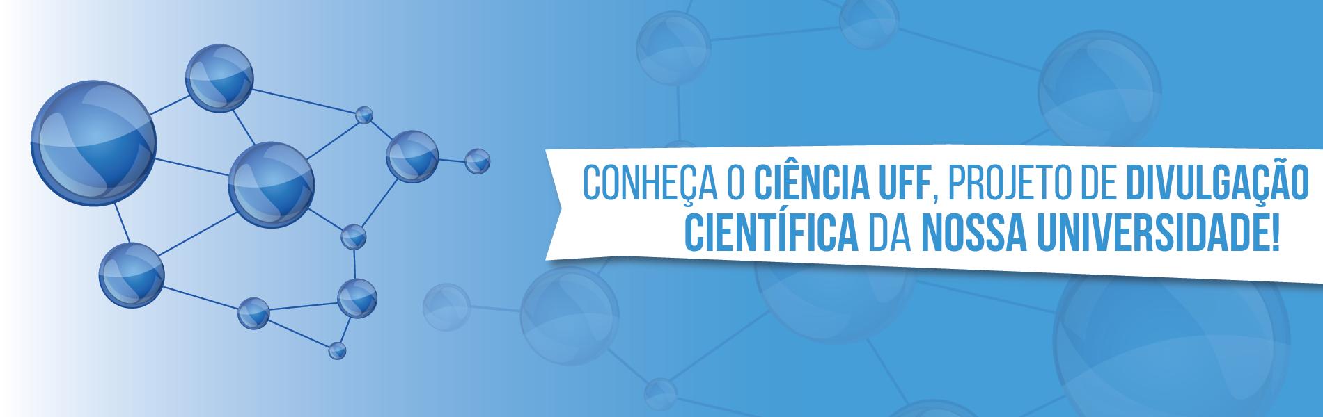 Banner com fundo nas cores azuis e desenho de moléculas