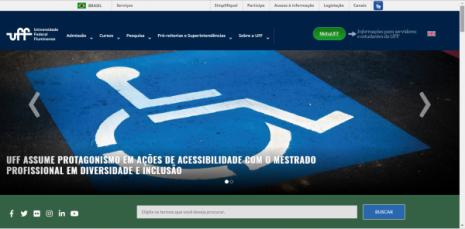 Tela do site da UFF