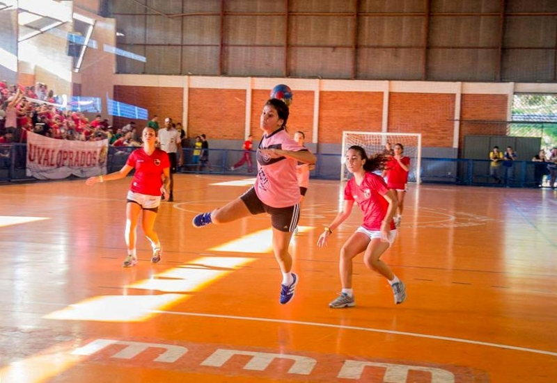 Jogo de handebol feminino no Jucs de 2015 Foto: Thiago Machado