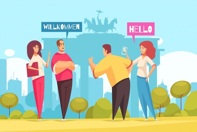 Desenho de quatro pessoas, dois homens e duas mulheres conversando em um parque com balões com as palavras