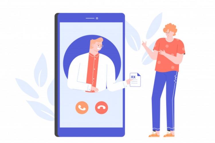 Desenho de pessoa saindo de um celular e entregando um papel a outra