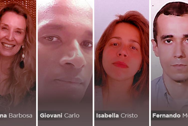 Foto dos servidores Adriana Barbosa, Giovani Carlo, Isabella Cristo e Fernando Mendes