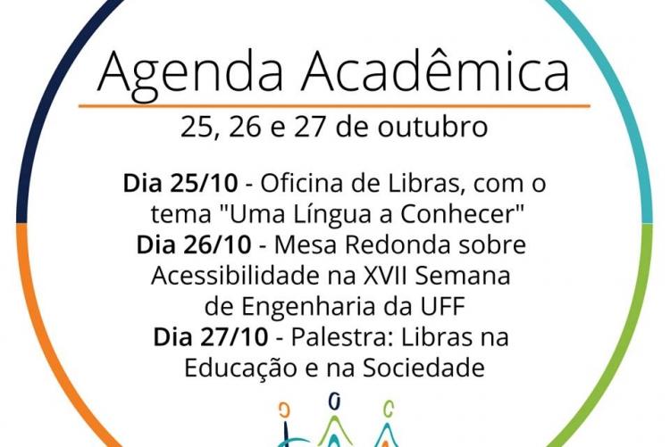 #pracegover cartaz virtual de divulgação das atividades que a Divisão de Acessibilidade e Inclusão Sensibiliza UFF vai promover durante o evento denominado agenda acadêmica. Os dados estão dentro de um círculo com a logo do sensibiliza na parte de baixo.