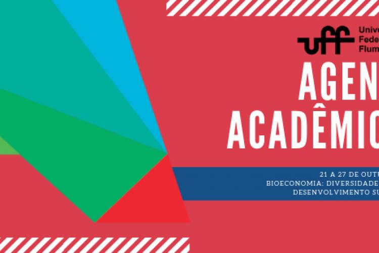 """#pratodosverem Flyer de divulgação do evento.  Sob um fundo avermelhado, à esquerda a logo- uma letra A numa mistura das cores verde (área das ciências biológicas) azul (área de exatas) e vermelho (humanas), simbolizando a união de todos num mesmo espaço. Do lado direito, a logo da UFF, o título Agenda acadêmica, data: 21 a 27/10 e o tema: tema é """"Bioeconomia: Diversidade e Riqueza para o Desenvolvimento Sustentável"""". Fim da descrição."""