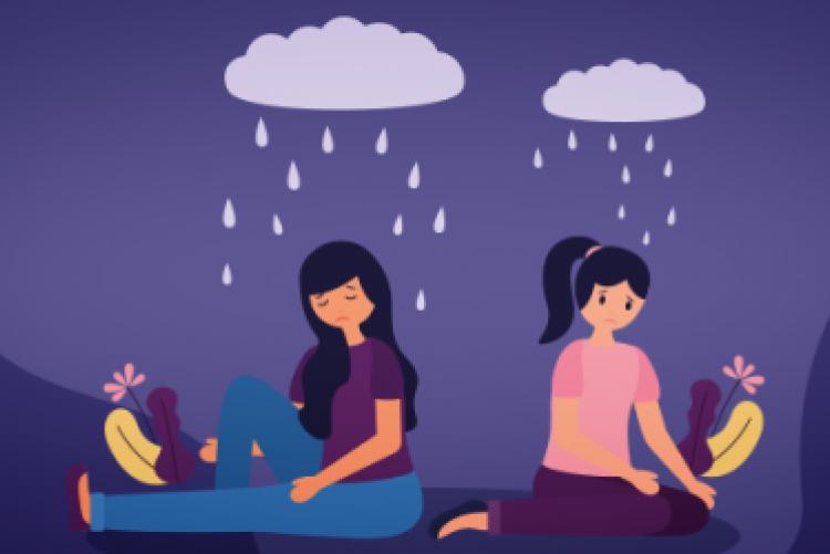 Desenho de duas mulheres sentadas de costas uma para outra com uma nuvem chuvosa sobre a cabeça de cada uma