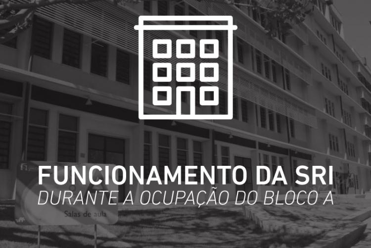 Montagem de imagem do Bloco A do Campus Gragoatá com ícone de prédio e frase