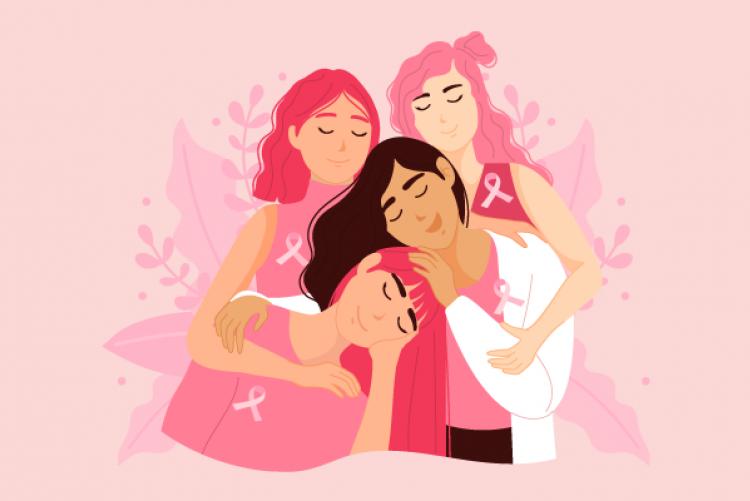 Desenho de quatro mulheres com blusa e cabelo em diferentes tons de rosa se abraçando