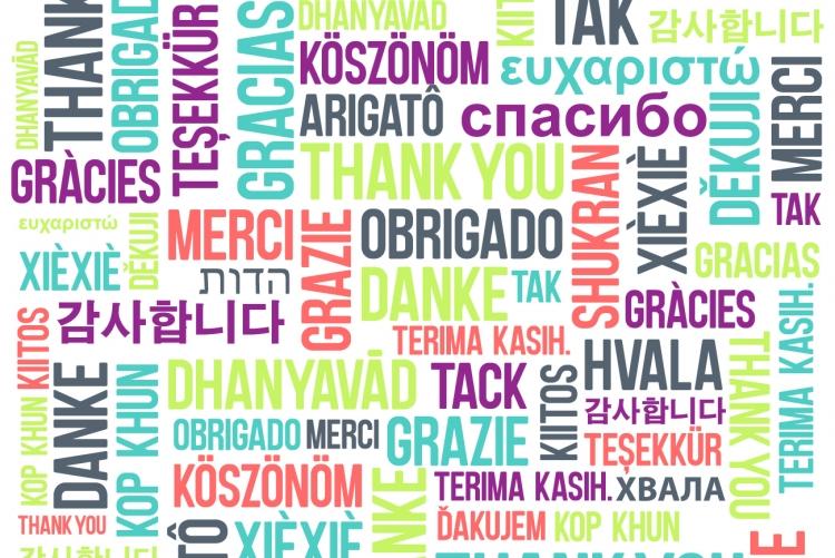 imagem: palavra obrigado em diferentes línguas