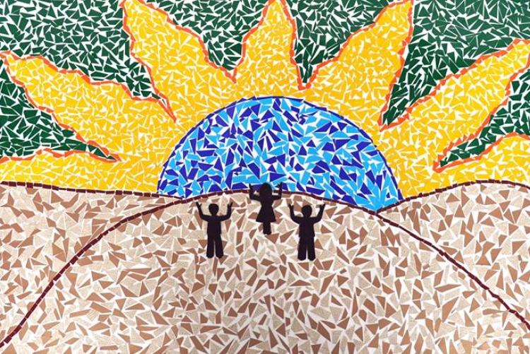 Mosaico feito por alunas do curso de artesanato oferecido pela Cáritas a refugiados e solicitantes de refúgio.