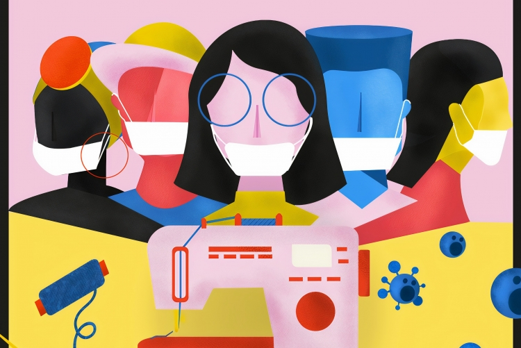Ilustração com diferentes profissionais usando máscara e uma máquina de costura em frente