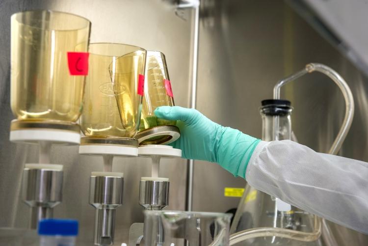 Mão com luva manipula frasco de laboratório