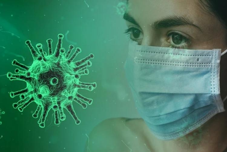 coronavírus e pessoa de máscara