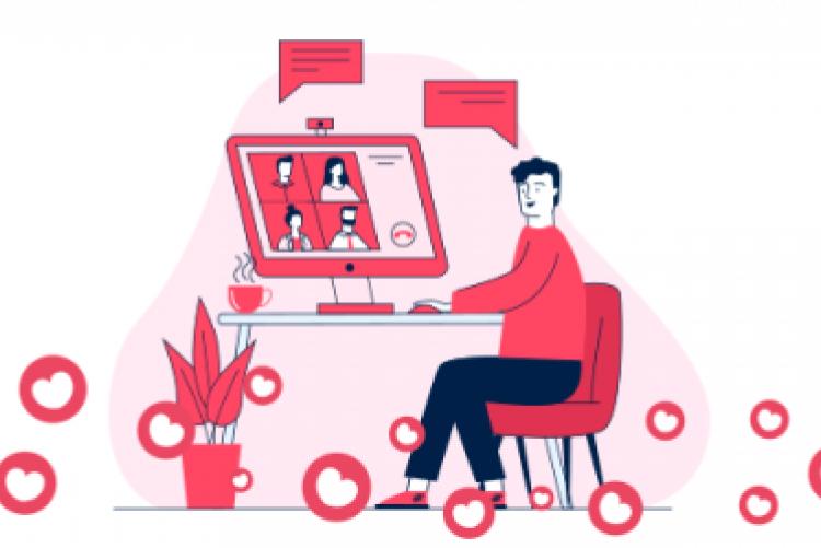 Desenho de homem sentado olhando para uma tela de computador com quatro quadros (como costuma aparecer nas videochamadas em grupo)