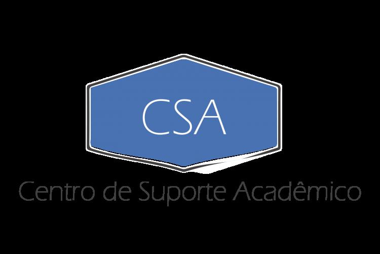 #pracegover A imagem representa o logotipo do Centro de Suporte Acadêmico, cuja sigla CSA está inserida em um losango azul. O título