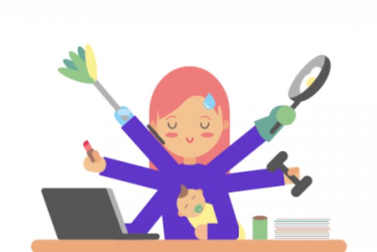 Desenho de mulher com vários braços, segurando bebê, batom, laptop, peso, frigideira e espanador