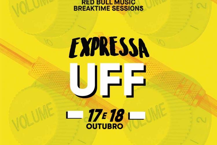 imagem: texto: red bull music breaktime sessions, expressa UFF, 17 e 18 de outubro