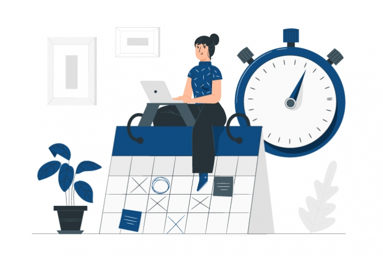 Desenho de mulher digitando em laptop em cima de um grande calendário de mesa, relógio e planta ao fundo.