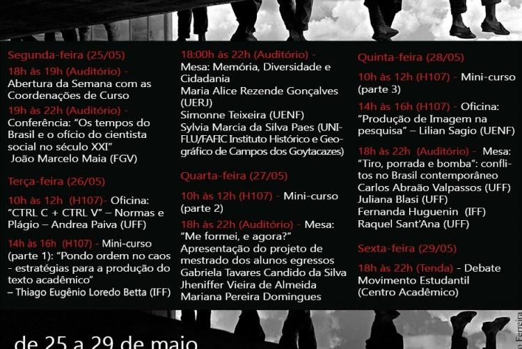 Programação da VI Semana de Ciências Sociais, em Campos dos Goytacazes