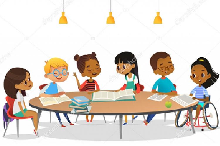 #pratodosverem imagem de um grupo de seis pessoas em volta de uma mesa redonda.