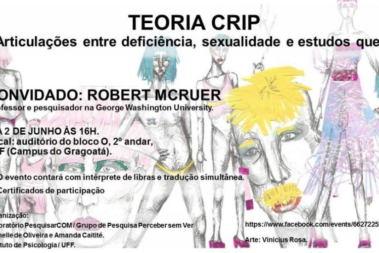 cartaz do evento TEORIA CRIP: Articulações entre deficiência, sexualidade e estudos queer