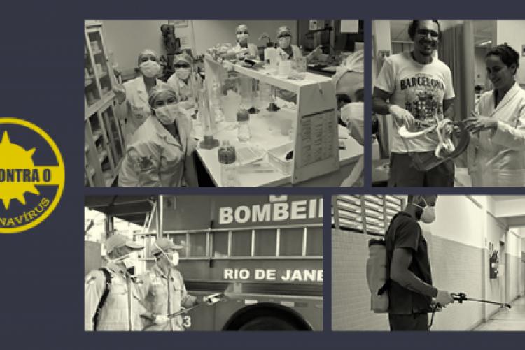 Mosaico de quatro fotos mostrando iniciativas da UFF como produção de EPIs e sanitização de espaços públicos