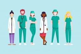 Ilustração com vários profissionais de saúde