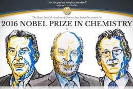 Da esquerda para direita, os laureados Jean-Pierre Sauvage, Sir Fraser Stoddart e Bernard Feringa