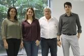 Professores Carla Carvalho, Kita Macario, Paulo Gomes e Roberto Linares no novo laboratório