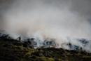 Grande nuvem de fumaça derivada de uma queimada em um morro. Uma pessoa tenta apagar as chamas.