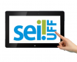 Tablet com a logo do Sei na UFF