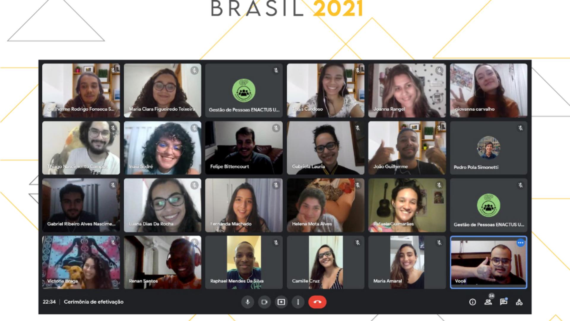 """Em cima está escrito """" Enactus Brasil 2021"""" e embaixo vários quadrados com as imagens dos participantes"""