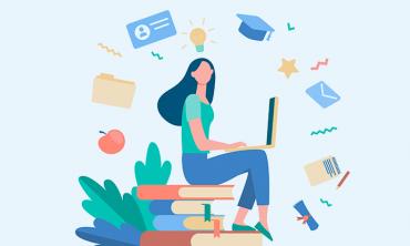 Desenho de mulher sentada em pilhas de livros digitando em laptop com ícones relacionados a educação à sua volta