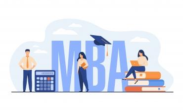 """Desenho de pessoas a volta das letras """"MBA"""""""