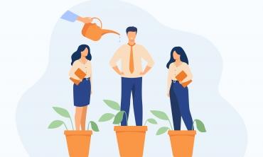 Desenho de três pessoas em vasos de plantas sendo regadas