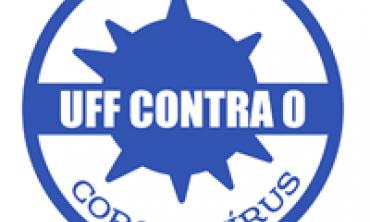 Logo azul e branca com imagem de um vírus com o dizer: UFF Contra o Coronavírus, ao centro.