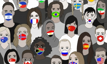 Ilustração de vários rostos de pessoas usando máscaras com desenhos das bandeiras de diferentes países