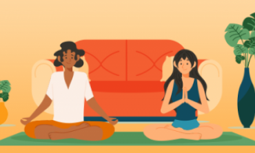 Desenho de homem e mulher em sala de estar em posição de meditação