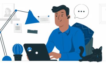 Desenho de homem em frente ao computador com balão de diálogo e fone sem fio